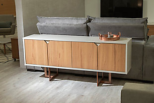 Manhattan Comfort Knickerbocker Sideboard in Cinnamon and Off White, , rollover
