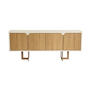 Manhattan Comfort Knickerbocker Sideboard in Cinnamon and Off White, , large
