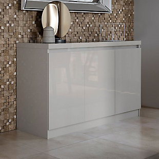 Manhattan Comfort Viennese Buffet Stand with Mirrors in Off White, Off White, rollover