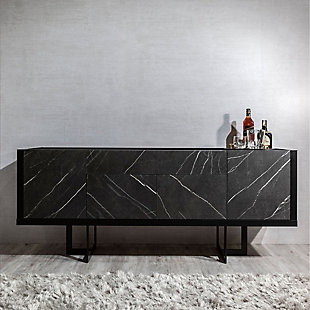 Manhattan Comfort Celine Buffet Stand in Black and Black Marble, Black, rollover