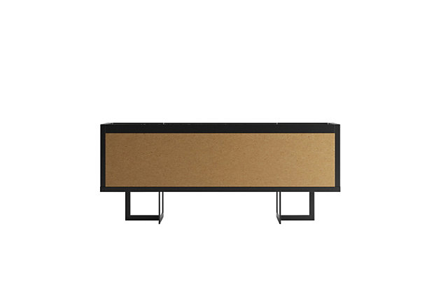 Manhattan Comfort Celine Buffet Stand in Black and Black Marble, Black, large