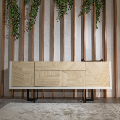 Manhattan Comfort Celine Buffet Stand in Off White and Nude Mosaic Wood, Off White/Mosaic, large