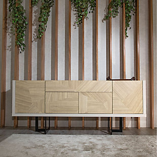 Manhattan Comfort Celine Buffet Stand in Off White and Nude Mosaic Wood, Off White/Mosaic, rollover