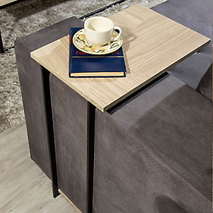 Manhattan Comfort Celine End Table in Nude Mosaic Wood, Mosaic, rollover