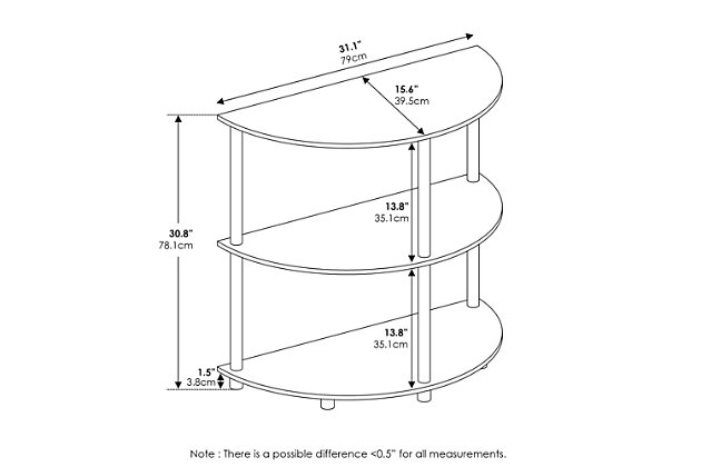 Frans Turn-N-Tube  Half Round Console Table, Black Oak, large