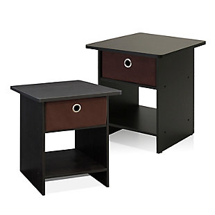 Dario End Table with Storage Shelf & Bin Drawer, Set of 2, , large
