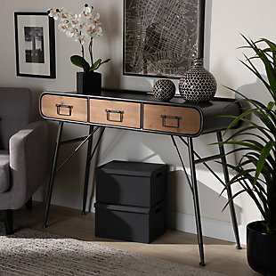 Santo Industrial Black Metal and Oak Brown Finished Wood 3-Drawer Entryway Console Table, , rollover