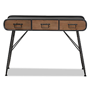 Santo Industrial Black Metal and Oak Brown Finished Wood 3-Drawer Entryway Console Table, , large
