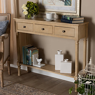 Calvin French Farmhouse Oak Brown Finished Wood 3-Drawer Entryway Console Table, Brown, rollover
