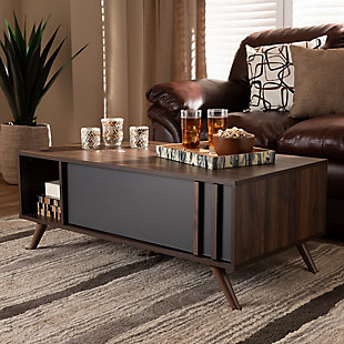 Naoki Two-Tone Gray and Walnut Finished Wood 1-Drawer Coffee Table, , rollover
