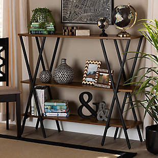 Norton Walnut Brown Finished Wood and Black Finished Metal Console Table, , rollover