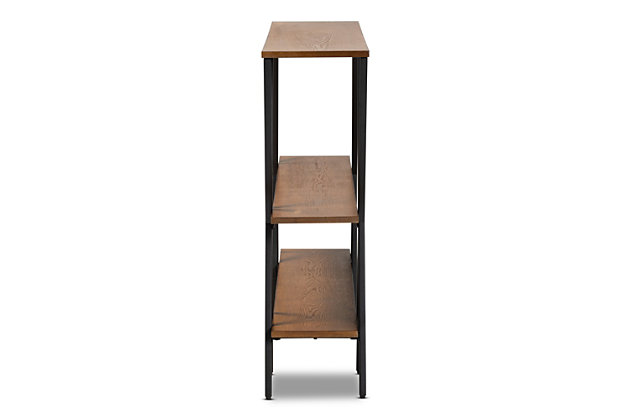 Norton Walnut Brown Finished Wood and Black Finished Metal Console Table, , large