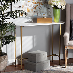 Samuel Gold Finished Metal Console Table, , large