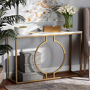 Caldwell Gold Finished Metal Console Table, , rollover