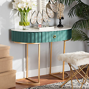 Beale Green Velvet Upholstered and Brushed Gold Finished 1-Drawer Console Table, , rollover
