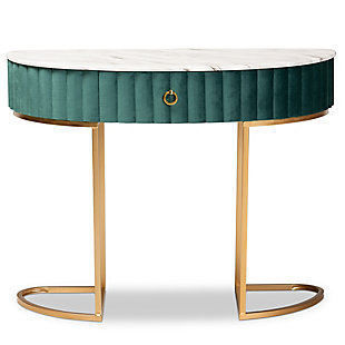 Beale Green Velvet Upholstered and Brushed Gold Finished 1-Drawer Console Table, , large