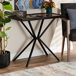 Carlo Walnut Finished Wood and Black Finished Metal Console Table, Brown/Black, rollover