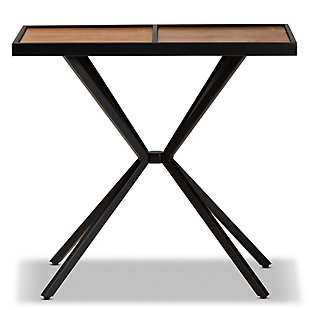 Carlo Walnut Finished Wood and Black Finished Metal Console Table, Brown/Black, large