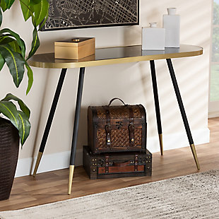 Lauro Black Faux Marble and Two-Tone Gold and Black Metal Console Table, , rollover