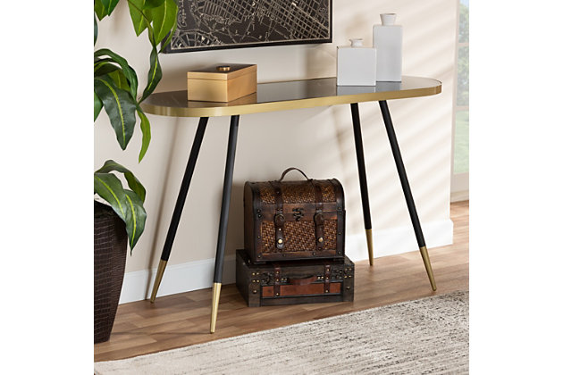 Lauro Black Faux Marble and Two-Tone Gold and Black Metal Console Table, , large