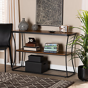Akram Walnut Brown Finished Wood and Black Finished Metal Console Table, , rollover