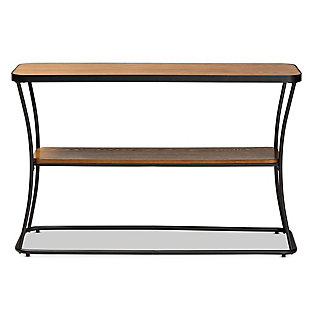 Akram Walnut Brown Finished Wood and Black Finished Metal Console Table, , large