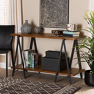 Britton Walnut Finished Wood and Black Finished Metal Console Table, , rollover