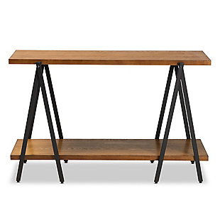 Britton Walnut Finished Wood and Black Finished Metal Console Table, , large