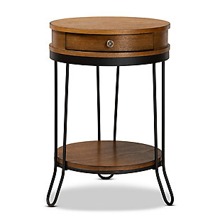 Roald Walnut Brown Finished Wood and Black Finished 1-Drawer Metal End Table, , large