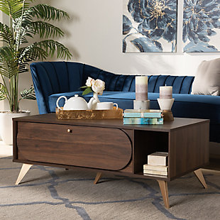 Edel Walnut Brown and Gold Finished Wood Coffee Table, , rollover