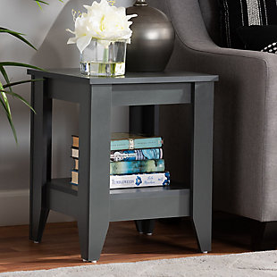Audra Gray Finished Wood Living Room End Table, , rollover