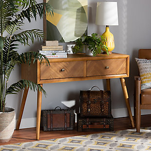 Mae Natural Brown Finished Wood 2-Drawer Console Table, , rollover