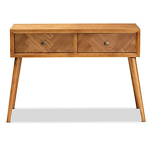 Mae Natural Brown Finished Wood 2-Drawer Console Table, , large