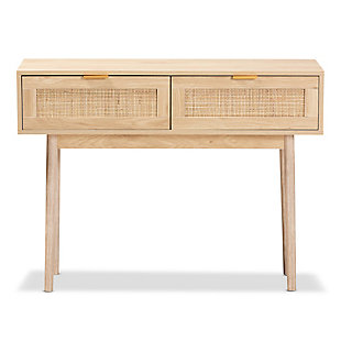 Baird Light Oak Brown Finished Wood and Rattan 2-Drawer Console Table, , large