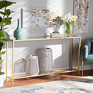 Alessa Glam Gold Finished Metal and Mirrored Glass Console Table, , rollover