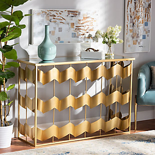 Vega Gold Finished Metal and Mirrored Glass Geometric Console Table, , rollover