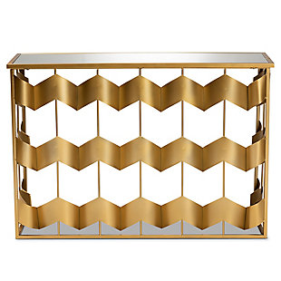 Vega Gold Finished Metal and Mirrored Glass Geometric Console Table, , large