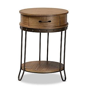 Kellyn Oak Brown Finished Wood and Black Finished Metal 1-Drawer End Table, , large