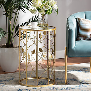 Anaya Glam Brushed Gold Finished Metal and Glass Leaf Accent End Table, , large