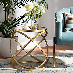 Desma Gold Finished Metal and Mirrored Glass End Table, , rollover