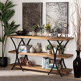Terrell Natural Brown Finished Wood and Black Finished Metal Console Table, , rollover