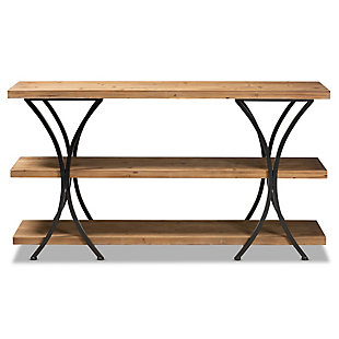 Terrell Natural Brown Finished Wood and Black Finished Metal Console Table, , large