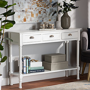 Garvey French Provincial White Finished Wood 3-Drawer Entryway Console Table, White, rollover