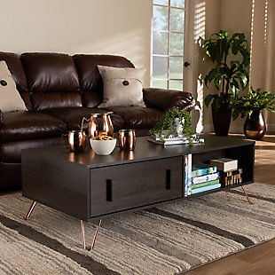 Baldor Dark Brown Finished Wood and Rose Gold-Tone Finished Metal 2-Drawer Coffee Table, , rollover
