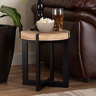 Horace Natural Brown Finished Wood and Black Finished Metal End Table, , rollover