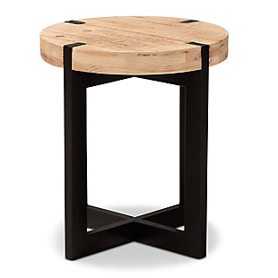 Horace Natural Brown Finished Wood and Black Finished Metal End Table, , large