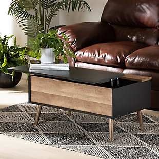 Jensen Two-Tone Black and Rustic Brown Finished Wood Lift Top Coffee Table, , rollover
