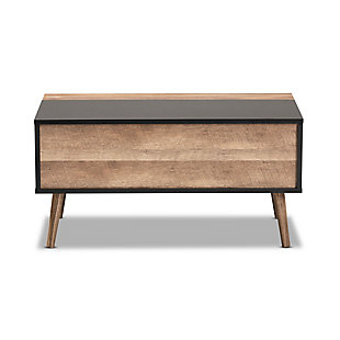 Jensen Two-Tone Black and Rustic Brown Finished Wood Lift Top Coffee Table, , large