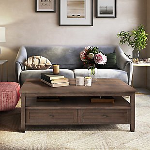 """Simpli Home Warm Shaker Solid Wood 48"""" Wide Rectangle Rustic Coffee Table, , rollover"""