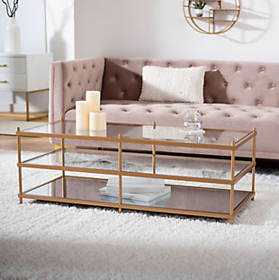 Safavieh Cathal Glass And Mirror Coffee Table, , rollover